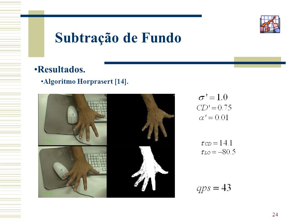 Subtração de Fundo Resultados. Algoritmo Horprasert [14].